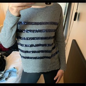 Comptoir des Cotonniers Gray Sequin Sweater